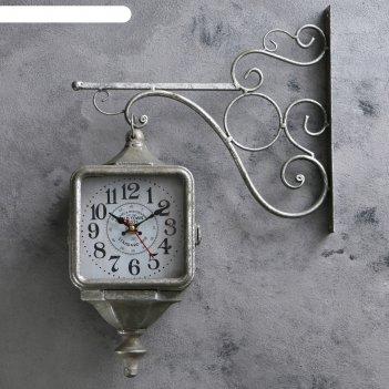 Часы настенные двойные, серия: садовые, уличный фонарь, серебро, 40х31 см