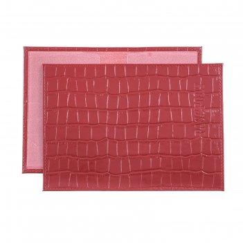 Обложка для паспорта o-8, без застежки, красный, крокодил