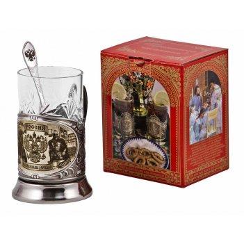 Набор для чая   россия (3 пр.) карт.коробка, хруст.стакан, гра