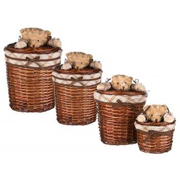 Набор корзин для игрушек круглых из 4 шт.с крышкам...