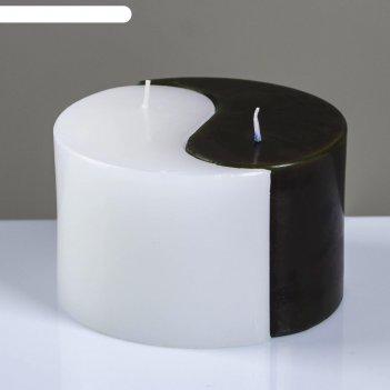 Свеча двудольная призма инь-янь классика, 125x75мм,  черно/белая