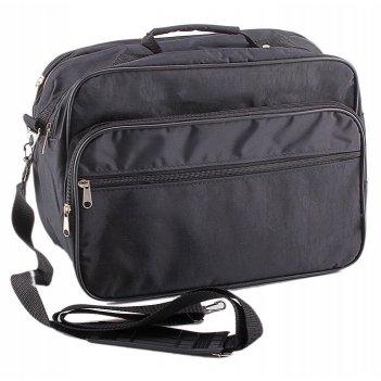 Сумка мужская, 2 отдела, 2 наружных кармана, длинный ремень, цвет чёрный