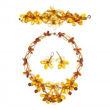 Прекрасный комплект из янтаря: колье, браслет, серьги