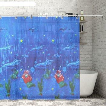Штора для ванной 180x180 см дельфины, eva