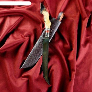 Нож пчак шархон - узкий, лапка большая, гарда мельхиор с гравировкой. шх-1