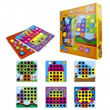 1toy игродром мозаика для малышей кнопик, 41 кнопка, 6 трафаретов