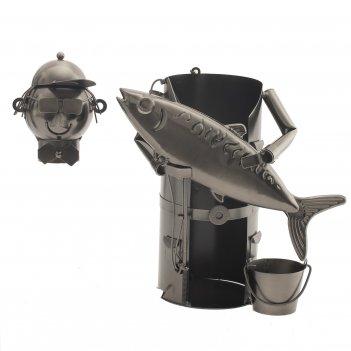 Подставка для бутылки рыбак, l20 w12 h20 см