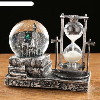 Часы песочные, шар с подсветкой, внутри эйфелева башня, полистоун, микс, 1