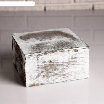 Ящик с разделителем и крышкой состаренный, 19х19х10см
