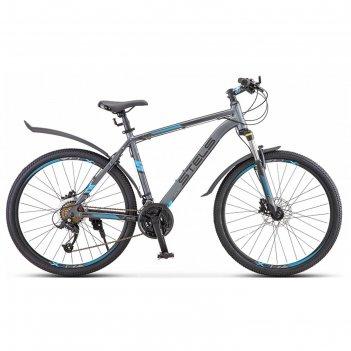 Велосипед 26 stels navigator-640 d, v010, цвет серый/синий, размер 15,5