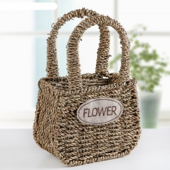 Кашпо плетеное с ручкой цветы 16х10х27 см, цвет коричневый