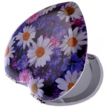 Зеркало ec mr 026 компактное в металл корпусе, сердце, цветы