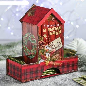 Органайзер для чая счастья в новом году!, эко, 20,9х19,3х8,2 см