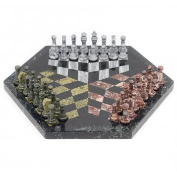 Шахматы на троих змеевик мрамор креноид 44х44см