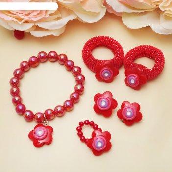 Комплект детский выбражулька 5 предметов: 2 резинки,клипсы, кулон, кольцо,