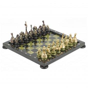 Шахматы русский стиль бронза змеевик 380х380 мм 14 кг