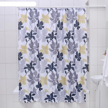 Штора для ванной 180x180 см цветочный мотив, полиэстер
