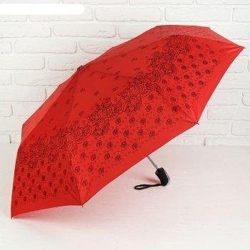 Зонт полуавтоматический «розочки», 3 сложения, 8 спиц, r = 55 см, цвет кра