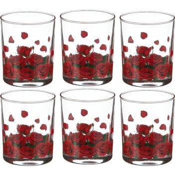 Набор стаканов из 6 шт. розарий 255 мл (кор=4набор.)
