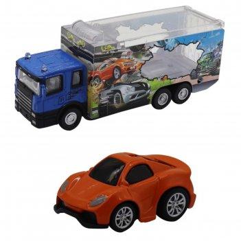 Набор грузовик + машинка die-cast, оранжевая, спусковой механизм