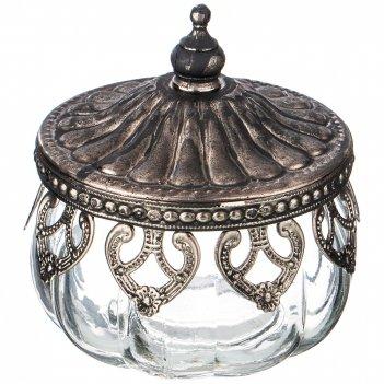 Ваза декоративная с металл.крышкой, д=9см, в=6,5см (кор=36шт.)