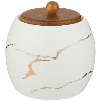 Сахарница коллекция золотой мрамор цвет: white 9,5*10,2 см