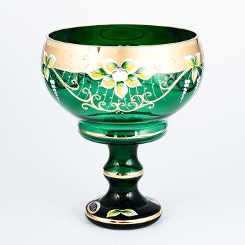 Конфетница зеленая bohemia star crystal 20 см