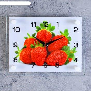 Часы настенные, серия: кухня, клубника, стекло, 20х26  см, микс