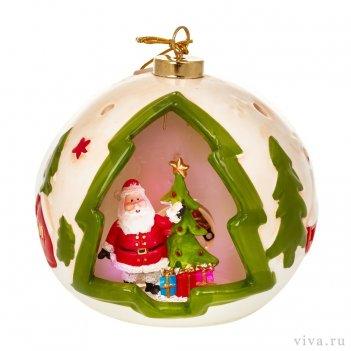 Новогодняя композиция в шаре 12 см с подсветкой  «дед мороз»