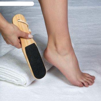 Тёрка для ног, наждачная, двусторонняя, 25 см, деревянная
