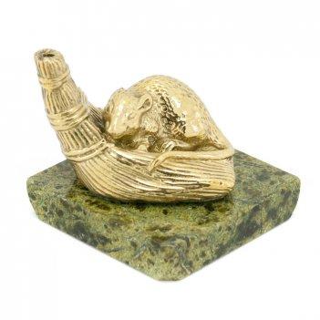 Подставка для аромопалочек крыса на венике бронза змеевик