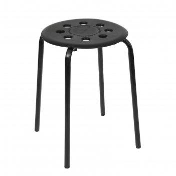 Табурет  с пластм. сиденьем на 4-х опорахорах черный тп01