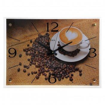 Часы настенные прямоугольные чашка кофе, 40х56 см