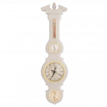 Бм-95 метеостанция, барометр, гигрометр, термометр, часы белый дуб