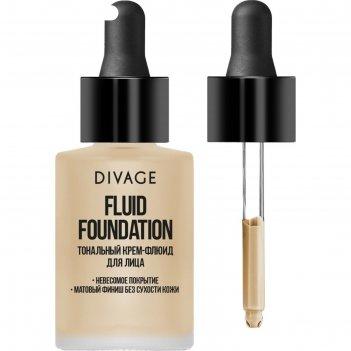 Тональный крем-флюид для лица divage fluid foundation, тон № 01