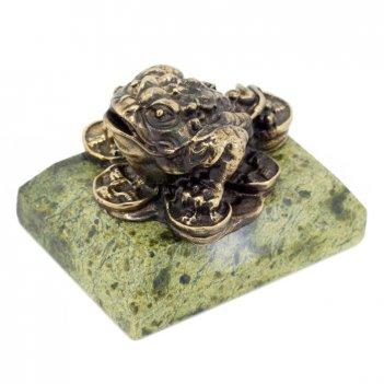 Статуэтка жаба на деньгах бронза змеевик