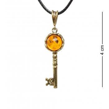 Am-1734 подвеска золотой ключик (латунь, янтарь)