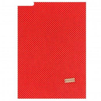Ткань на клеевой основе «красная в белый горошек», 21 х 30 см