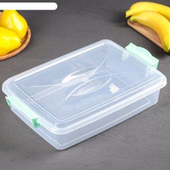 Контейнер пищевой 4,5 л с крышкой и ручками, прямоугольный, цвет микс