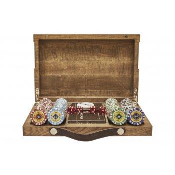 Набор для покера crown на 200 фишек в кейсе из ясеня