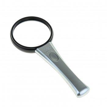 Лупа чёрная с серой ручкой х3,5 d=65 мм с подсветкой 18х7,2х1,5 см