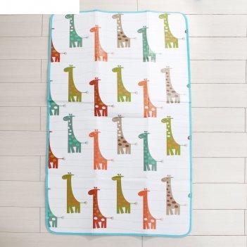Коврик детский на фольгированной основе «весёлые жирафики», размер 180х100