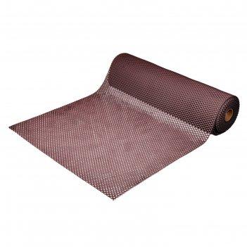 Коврик-дорожка пвх шашки 4,5 мм 0,9*10 м, против скольжения, коричневый