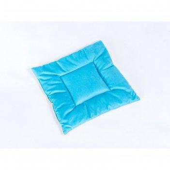 Подушка на стул квадратная 45х45см, высота 5см, велюр голубой, бежевый, си
