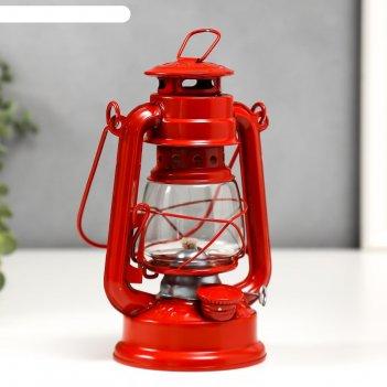 Керосиновая лампа декоративная красный 9,7х12,5х11,5 см
