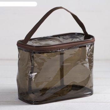 Косметичка-сумка пвх, 24*12*18,  отдел на молнии, с ручкой, кофейный