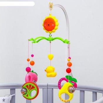 Мобиль на кроватку игрушки-погремушки музыкальный, на заводном механизме,