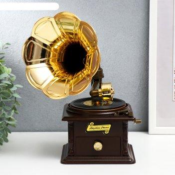 Шкатулка музыкальная механическая граммофон
