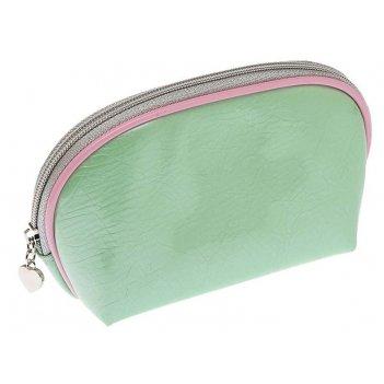 Косметичка dewal beauty серия мятная свежесть, зеленая с розовым 19,5х11