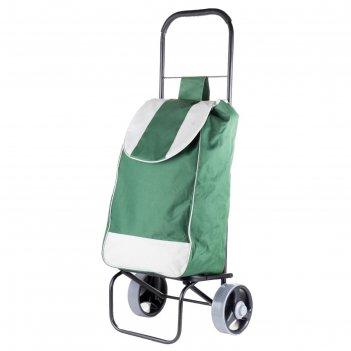 Сумка-тележка хозяйственная, полоса, зеленая, нагрузка до 40 кг